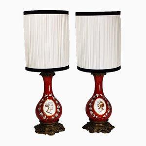Lámparas antiguas de porcelana y bronce, década de 1870. Juego de 2