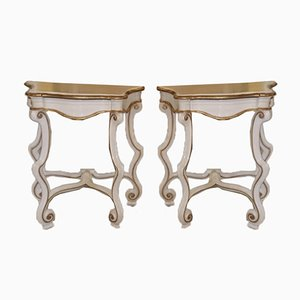 Tables de Chevet Antiques, Italie, Set de 2
