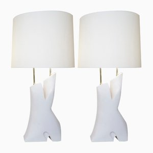 Vintage White Unglazed Ceramic Lamps by Dorion for Desvres, 1970s, Set of 2