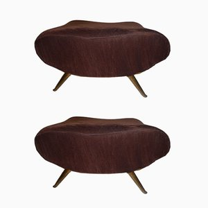Mid-Century Italian Brass & Velvet Footstools, Set of 2