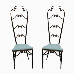 Italienische Mid-Century Esszimmerstühle aus Messing, 1950er, 2er Set