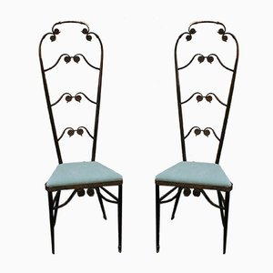 Mid-Century Italian Brass Dining Chairs, 1950s, Set of 2
