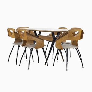 Juego de mesa y sillas de comedor italiano Mid-Century de Carlo Ratti, años 50. Juego de 7