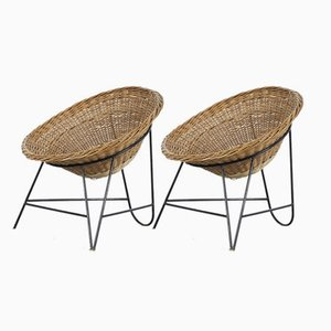 Mid-Century Italian Rattan Chairs, 1950s, Set of 2