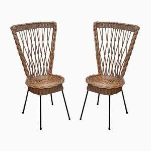 Mid-Century Italian Rattan Dining Chairs, 1960s, Set of 2