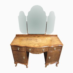 Vintage Burr Walnut Triple Mirror Dressing Table, 1920s