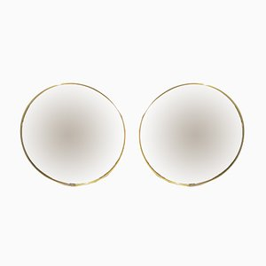Mid-Century Italian Round Mirrors, 1950s, Set of 2