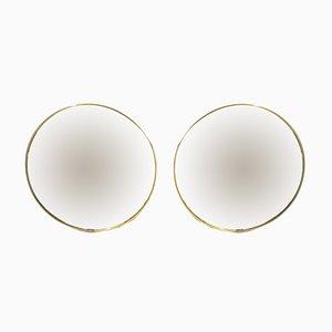 Mid-Century Italian Round Mirrors, 1950s, Set of 2