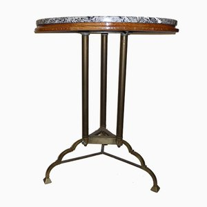 Vintage French Bistro Table with Granite Top, 1930s