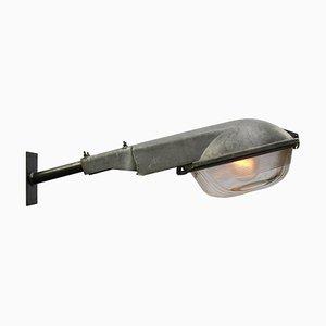 Lampada da parete in alluminio pressofuso grigio di Holophane, anni '50