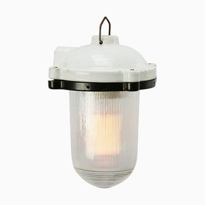 Suspension Industrielle Vintage en Porcelaine Blanche de Holophane