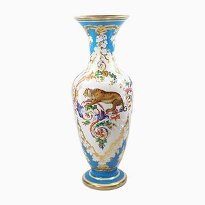 Antique Opaline Glass Enamel Painted Vase from Baccarat