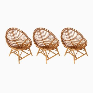 Mid-Century Italian Rattan Egg Armchairs from Vittorio Bonacina, 1950s, Set of 3