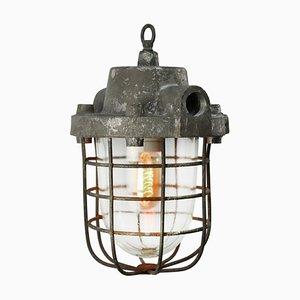 Lampe à Suspension Industrielle Vintage en Fonte d'Aluminium Grise