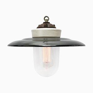Lampe à Suspension Vintage en Émail Noir, Porcelaine et Fonte