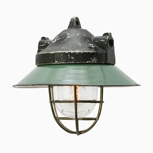 Vintage Industrial Petrol Enamel & Cast Aluminum Pendant from Holophane