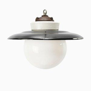 Lampe à Suspension Vintage en Fonte et Émail Noir