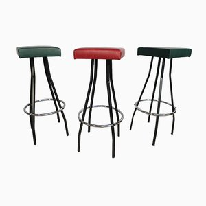 Vintage Leather Stools, 1970s, Set of 3