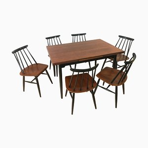 Juego de mesa de comedor y seis sillas de Ilmari Tapiovaara para Asko, años 60