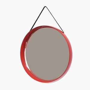 Wall Mirror with Leather Strap by Uno & Östen Kristiansson for Luxus, 1960s