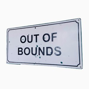 Vintage Out of Bounds Schild aus Emaille