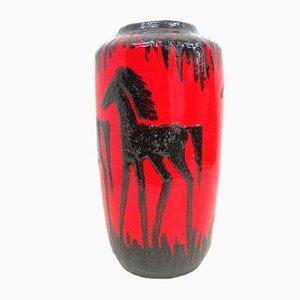 Breite Mid-Century Lava Bodenvase mit Pferde-Motiv von Scheurich