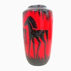 Wide Midcentury Lava Floor Vase with Horse Motif by Scheurich