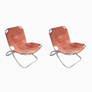 Chrome & Leather Folding Chair, 1960s, Set of 2,
