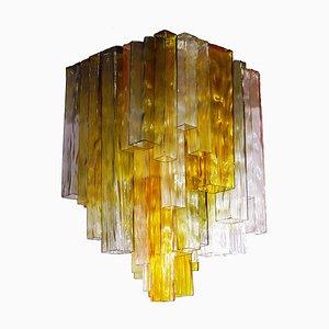 Lámpara de techo de cuatro colores de vidrio de Paolo Venini para Barovier & Toso, años 60