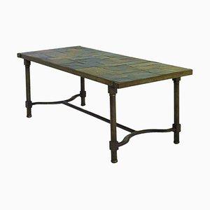 Table Basse Vintage en Fer et Plateau en Ardoise par Jacques Adnet