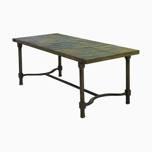 Vintage Iron and Slate Stone Top Coffee Table by Jacques Adnet