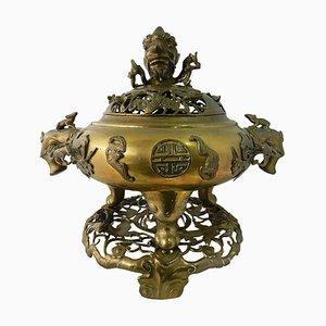 Großes Räuchergefäß aus Bronze aus dem 19. Jhdt