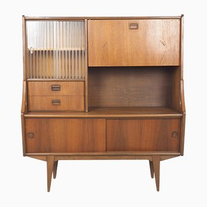 Vintage Dutch Teak Showcase Buffet, 1960s