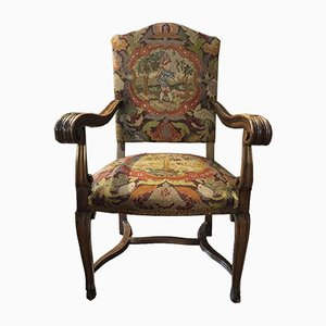 Antique Walnut & Fabric Armchair