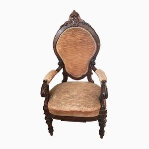 Poltrona Luigi Filippo antica in legno e velluto