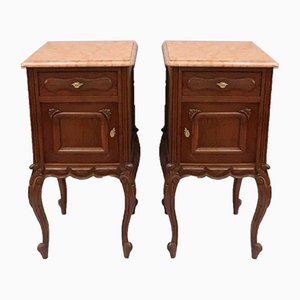 Continental Oak Bedside Cabinets, 1910s, Set of 2