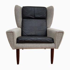 Dänischer Mid-Century Sessel in Schwarz & Grau, 1970er