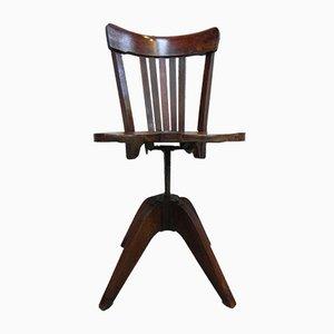 Chaise de Bureau Pivotante en Acajou, 1930s