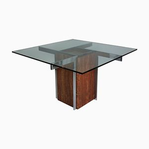 Marble and Chrome Modernist Dining Table, 1960s