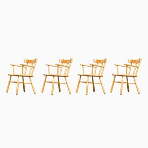 Round Oak Dining Chairs, 1970s, Set of 4