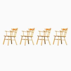 Runde Esszimmerstühle aus Eiche, 1970er, 4er Set