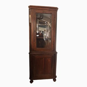 Walnut Corner Cabinet with Showcase, 1800s