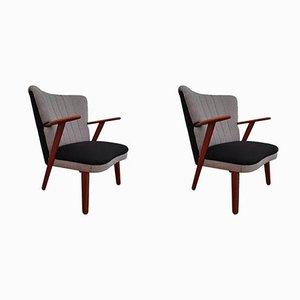 Danish Black & Grey Armchairs, 1960s, Set of 2