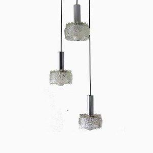 Lámpara cascada de vidrio texturizado, años 60