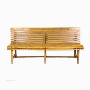 Wooden Train Station Bench, 1930s