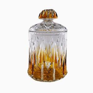 Französische Vase aus geschliffenem Kristallglas mit Deckel, 1940er