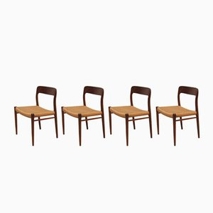 Danish Teak & Cane Model 75 Dining Chairs by Niels O. Møller, 1960s, Set of 4
