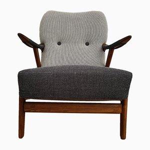 Skandinavischer Sessel in Schwarz & Grau, 1960er