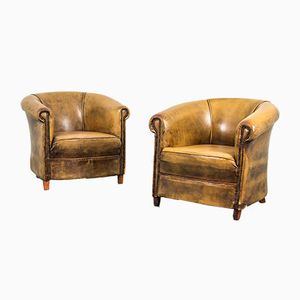 Vintage Leather Club Chairs, 1970s, Set of 2