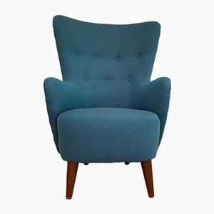 Danish Turquoise Highback Lounge Chair, 1950s
